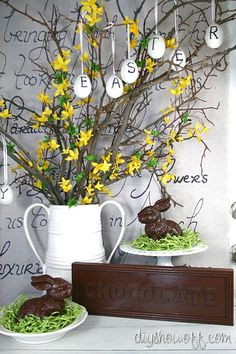love the faux chocolate bunnies and candy bar!