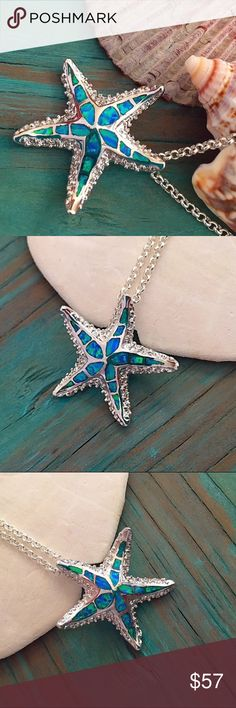 Blue fire opal starfish necklace This beautiful little starfish is inlayed with blue fire opal, which gets it's name from the amazing fiery flash of color that changes with the shift of light.  It is filled with a thick durable layer of sterling silver and so is stamped .925  Chain is 30 inches. Jewelry Necklaces