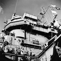 View of USS Saratoga's superstructure from a descended elevator, Nov 1943