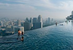 Infinity pool in Singapore at Marina Bay Sands resort - my fave to see but I don't think I'd be brave enough to swim in it - how about you?