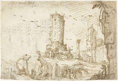 Gerard ter Borch (I) | Torens tussen ruïnes, Rome, Gerard ter Borch (I), c. 1607 - c. 1609 |
