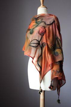 Nuno felted scarf shawl wrap silk wool crochet design rust moss green floral hand dyed painted earthy patina. Silk Wool, Wool Yarn, Wool Felt, Merino Wool, Nuno Felt Scarf, Felted Scarf, Nuno Felting, Needle Felting, Felt Fabric