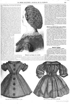 1861 La Mode Illustree. Cap made of netting, with blonde lace and lilac ribbon.