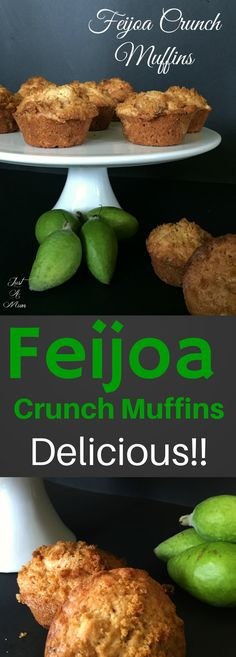 Feijoa Crunch Muffins Autumn is a wonderful time for gorgeous seasonal fruits, and the unusual Feijoa is among them! Coveted in some parts of the world, and plentiful in others. Fejoa Recipes, Guava Recipes, Fruit Recipes, Sweet Recipes, Cooking Recipes, Healthy Recipes, Recipies, Pineapple Guava, Summer Cakes
