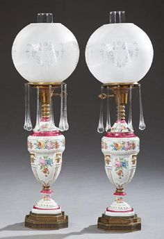 Pair of Victorian Style Porcelain Table Lamps, c. 1920,