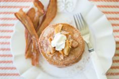 Paleo Spiced Chestnut Flour Pancakes with Cinnamon Apple Maple Syrup -
