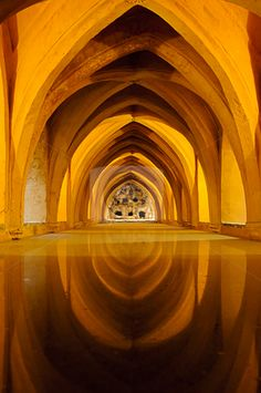 "Baths in the Royal Alcazar of Seville, Spain ~ View of the so called ""Banos de Dona Maria de Padilla""."