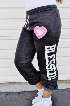 $19.99 BLESSED FLEECE SLIM SWEAT PANT IN DARK HEATHER by JCLU Forever Christian t-shirts
