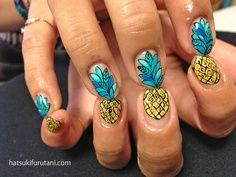 Nails pineapple Pretty Pineapples hatsukifurutani: hatsuki furutani a. ebisu place Hbsche Ananas Hatsukifurutani: Hatsuki Furutani a. Get Nails, Fancy Nails, How To Do Nails, Pretty Nails, Hair And Nails, Pineapple Nails, Pineapple Nail Design, Manicure, Nail Polish