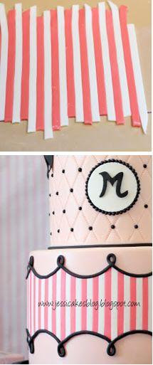 """""""Trade secret"""" for applying horizontal stripes to a cake (Jessicakes)."""