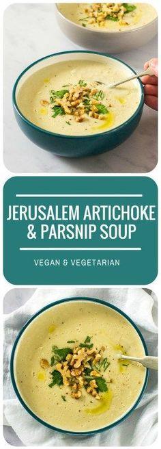 Roasted Jerusalem Artichoke & Parsnip Soup (#Vegan) - a silky and luxurious soup, so creamy you won't believe it is vegan!