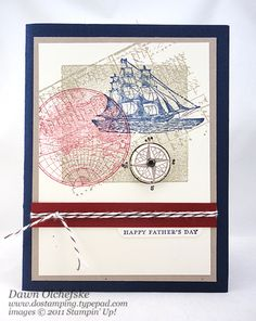 The Open Seas Father's Day Card - Shadow Block Stamping