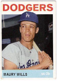 1964 Topps Maury Wills Dodgers Fan, Dodgers Baseball, Baseball Players, Baseball Cards, Baseball Photos, Maury Wills, Oakland Athletics, New York Rangers, St Louis Cardinals