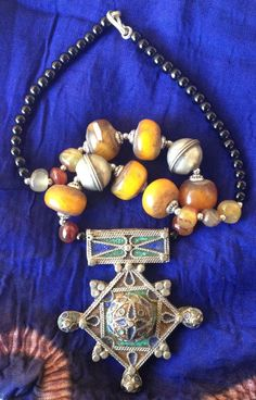 Beautiful Berber Cross with Resin Silver & Onyx by TuaregJewelry BY INEKE HEMMINGA
