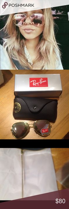 Auth Ray Ban Rose Gold Copper Aviators 62MM Brand New... Comes with cleaning cloth, box case, guarantee 100% authentic... Ships fast Ray-Ban Accessories Glasses