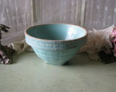 Early Antique Primitive McCoy Yellow Ware Stone Ware Pottery Bowl Shabby Home Decor