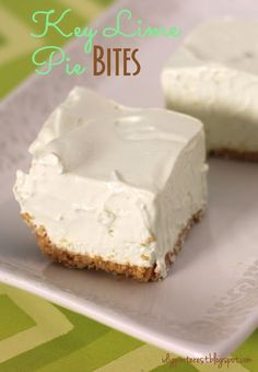Key Lime Pie Bites! Citrus is the perfect summertime taste...it's so light and refreshing. Combine it with cool whip, sweetened condensed milk and a thin graham cracker crust, and it's heaven in a bite.