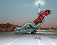 CHRIS LABROOY: Two Ford F pickup trucks from the Tales of Auto Elasticity series. Photography courtesy of Chris Labrooy Chris Labrooy, Design Spartan, Automobile, Acid Trip, 3d Artwork, Art 3d, Grid Design, Graphic Design, Retro Cars