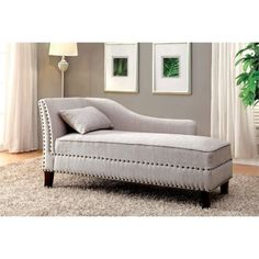 Furniture of America Jazlyn Modern Fabric Chaise Lounge in Beige