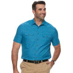 Big & Tall Croft & Barrow® Regular-Fit Outdoor Quick-Dry Button-Down Shirt, Med Blue