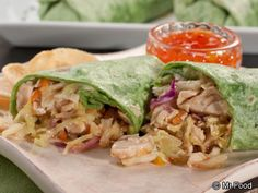 """ASIAN CHICKEN WRAPS RECIPE: ~ From: """"Mr.Food.Com"""" ~ Recipe Furnished By: """"MR.FOOD TEST KITCHENS"""" ~ Cook Time: 35 min; Ready In: 35 min;Yield: (4 servings). *** This east meets west easy weeknight meal fits company, too. Our Asian Chicken Wraps are way more exciting than a plain old sandwich. Chock full of flavor and crunch they're a treat for our taste buds."""