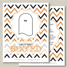 "Halloween Printable Chevron Ghosts from Peaches and Mint. *NOTE* This is not an instant download. You will need to ""like"" Peaches and Mint on Facebook first, then she will email you the file. Make sure you give yourself enough time. (You can't print this quickly on your way out the door.)"