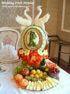 vegetable arrangements bridal shower | The whole view of the wedding fruit display at the head table: