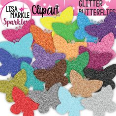 Spring is in the air and in your teaching activities too, with this fun glitter butterfly clipart set! Sparkly butterfly silhouettes in 22 different glitter colors! Add some color pop to your matching activities, labels, printables, classroom posters and more! The set includes 22 different colored glitter images. Each image is a 300 DPI PNG file with a transparent background. Personal and small commercial use accepted; my terms of use file is included. Enjoy!!