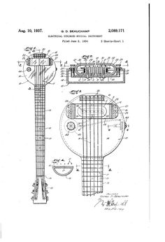 ELECTRIC STRINGED MUSICAL INTRUMENT Patent Drawing GD BEAUCHAMP