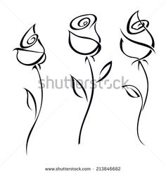 Illustration of Rose blossoms isolated on white background illustration. vector art, clipart and stock vectors. Doodle Drawings, Easy Drawings, Doodle Art, Horse Drawings, Line Drawing, Drawing Sketches, Painting & Drawing, Rose Stencil, Flower Drawing Tutorials