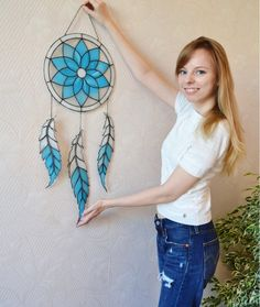 Items similar to Large Stained Glass Dreamcatcher, Dream catcher in Turquoise and Blue, Tiffany Technique Window Suncatcher on Etsy Stained Glass Ornaments, Stained Glass Suncatchers, Stained Glass Crafts, Stained Glass Designs, Stained Glass Patterns, Stained Glass Windows, Leaded Glass, Mosaic Glass, Glass Material