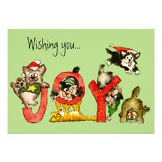 Wishing you... feelines of JOY!  With more cats inside and matching postage and return address labels. http://www.zazzle.com/collections/christmas_cats-119572820757650964