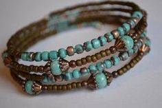 Turquoise and Brown Memory Wire Bracelet Boho Wrap by IvysPebbles by BGM Inspiration