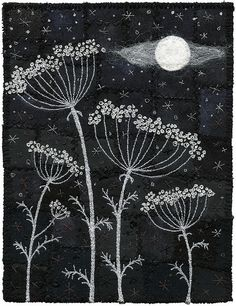 Moonlit seedpod fabric art.  Moonlight Umbels by Kirsten Chursinoff