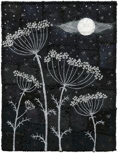 Moonlit seedpod fabric art.  Moonlight Umbels by Kirsten Chursinoff