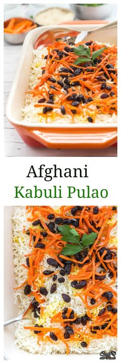 Lightly sweetened Vegetarian Afghani Pulao with carrots and raisins makes a great meal! Find the recipe on www.cookwithmanali.com