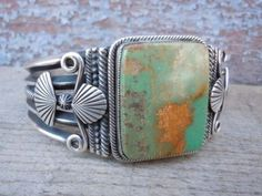 GARY-REEVES-Stunning-Sterling-Silver-Bracelet-Royston-Turquoise-Heavy-82-g