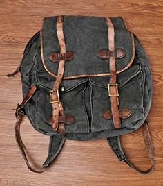 ZLYC Women Teen Girls Vintage Casual Canvas Leather Outdoors Travel Backpack Daypack Rucksack Shoulder School Messenger Bag Fit 14 - Click image twice for more info - See a larger selection of boys teens backpacks - kids, boys, little boys, school supplies, kids fashion , teenager, bags.