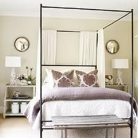 Atlanta Homes & Lifestyles - bedrooms - step table, step side table, white washed step table, white washed step side table, step nightstand, white washed step nightstand, step bedside table, white washed step bedside table, iron canopy bed, iron bed, bed panels, bed curtains, bed drapes, purple pillows, damask pillows, purple damask pillow, purple quilt, purple blanket, Oly Studio Marco Bed, Madeline Weinrib Atelier Lilac Song Rug,
