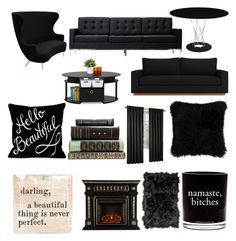 """Black Themed Hang Room"" by blackandrainbows on Polyvore featuring Tom Dixon, Furinno, Sugarboo Designs, Damselfly Candles, Natural by Lifestyle Group, livingroom, black, bitches, themed and namaste"