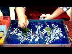 Malen auf dem Wasser für das Marmorpapier und Ebru Kunst. - YouTube