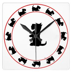 Shop Scottish Terrier Clock created by MaggieRossScotties. Skye Terrier, Terrier Dogs, Wall Clock Design, Westies, Beautiful Dogs, Creative Gifts, Dog Lovers, Scottie Dogs, Pure Products