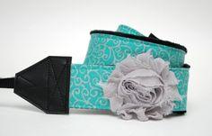 Camera Strap- Teal Swirl- Silver Flower on Etsy, $36.50