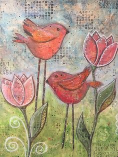 Tulip Mixed Media Whimsical Bird Painting Pink Tulip Mixed