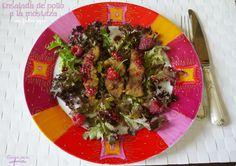 Ensalada de pollo a la mostaza con vinagreta de frutos rojos | Cocinando para mis cachorritos Sprouts, Meat, Chicken, Vegetables, Food, Mustard Chicken, Sweets, Essen, Eten