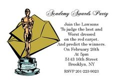 Academy Awards Party Invitations with wording using the best