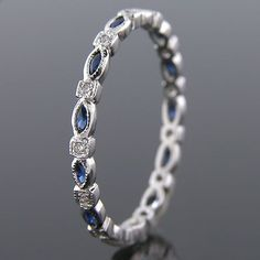 704S-420P Vintage inspired marquise sapphire with diamond platinum Mini wedding eternity band