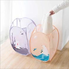 Bundle Of 2 Foldable Clothes Laundry Baskets.