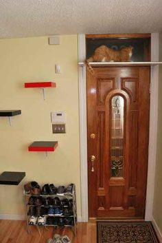 Create a stairway to heaven for your cat using Ikea Lack shelves.