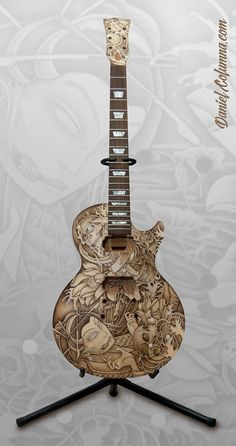 Les Paul & Tattoo by Daniel Hernández Columna, via Behance Ukulele Art, Guitar Art, Music Guitar, Cool Guitar, Wood Burning Crafts, Wood Burning Patterns, Wood Burning Art, Unique Guitars, Custom Guitars